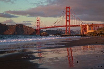 Photo of the Golden Gate Bridge at High Tide