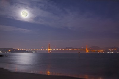 Golden Gate Bridge at Dawn with Full Moon