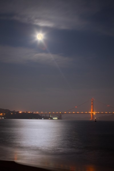 Golden Gate Bridge and Full Moon at Dawn