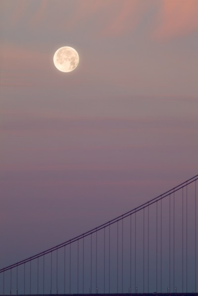 Full Moon and Golden Gate Bridge Cables Image