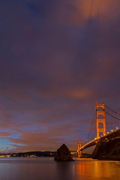 Golden Gate Bridge at Dawn, Shadow in the Clouds