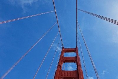 Golden Gate Bridge Tower and Cables - Upward View